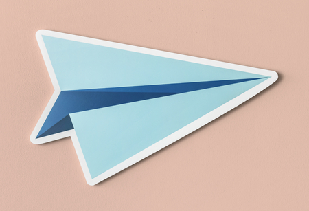 Launching paper plane cut out icon Archivio Fotografico - 109570668