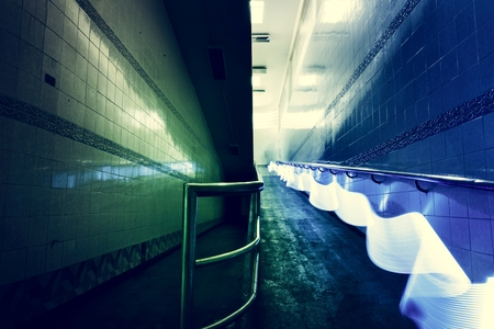 Blue light long exposure lines movement night time 写真素材