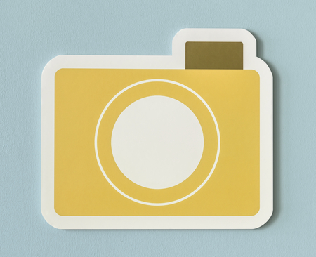 Icon of yellow paper camera folder Banco de Imagens