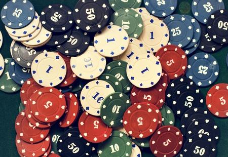 Scattered poker chips