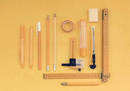 Stationery set flatlay on the desk