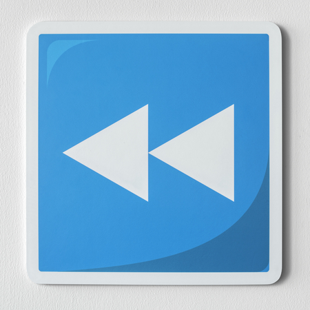 Blue rewind button music icon