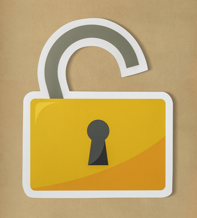 Privacy security open lock icon