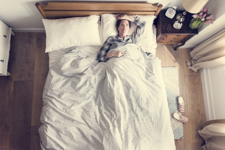 An insomnia woman on bed