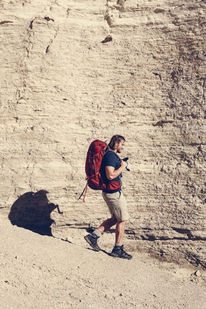 Hipster man traveling with backpack Stock fotó - 109571853