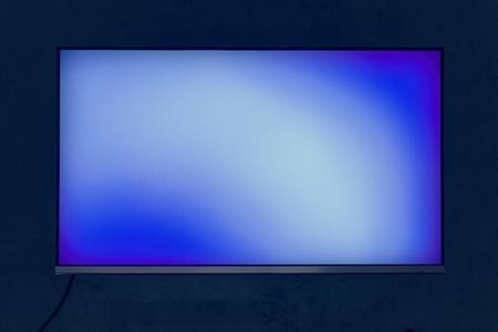 Blue digital blank screen isolated on black
