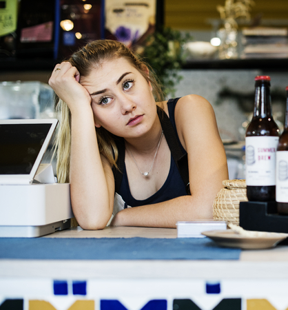 Business owner waiting for customers Stock Photo