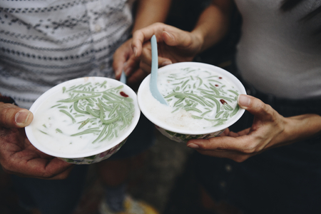 Bowls of fresh cendol dessert Stock Photo