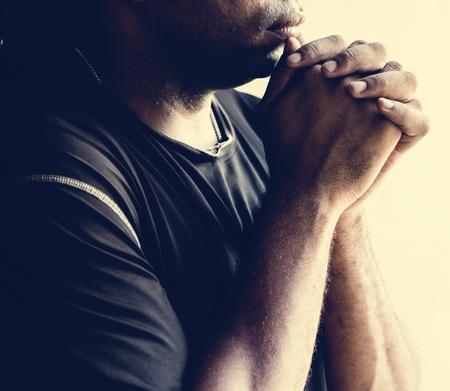 Contemplative African American man