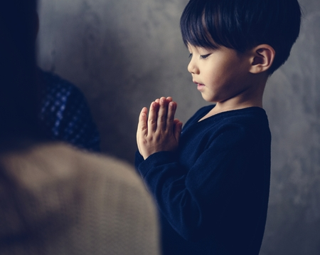 Japanese boy praying 写真素材
