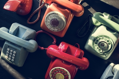 Antique rotary dial retro home phone Foto de archivo