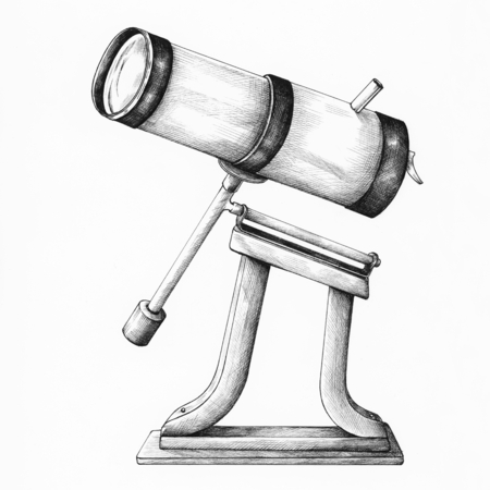 Hand drawn telescope isolated on a white background Standard-Bild - 109660898