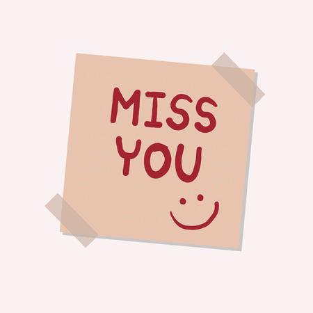Miss you sticky note illustration Banco de Imagens - 109662016