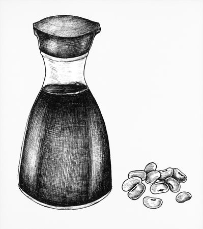 Hand drawn shoyu Japanese soy sauce isolated on a white background