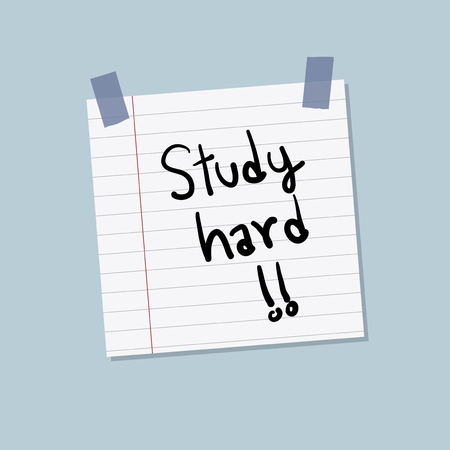 Study hard sticky note illustration