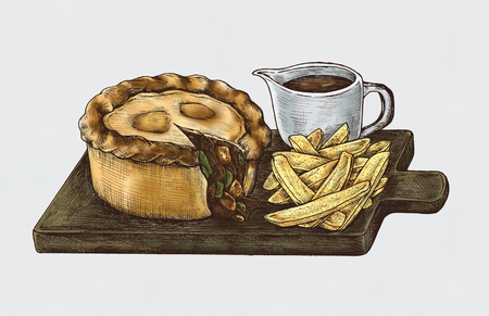 Hand-drawn minced beef pie