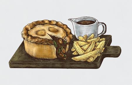 Hand-drawn minced beef pie Reklamní fotografie - 109662635