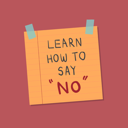 Learn how to say no note illustration Foto de archivo - 109662831