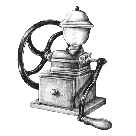 Hand drawn retro coffee grinder isolated on background