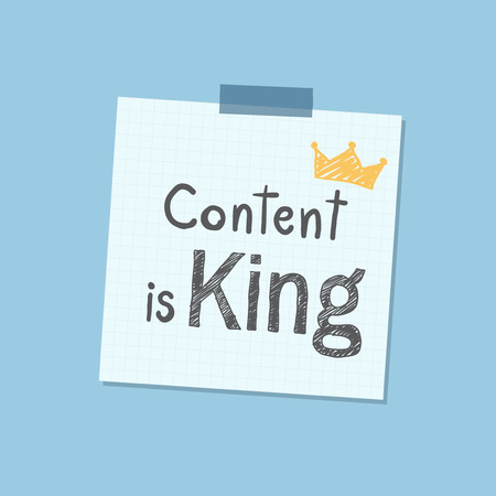 Content is king note illustration Banco de Imagens