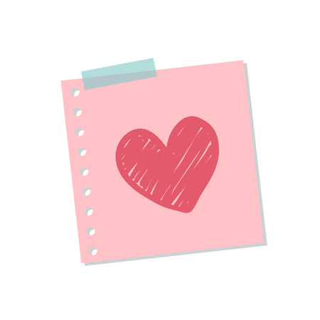 Cute and sweet love note illustration isolated on a white background
