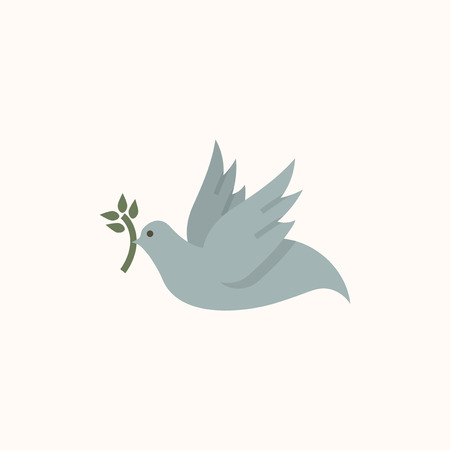 Illustration of a dove of peace isolated on a white background.