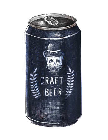 Hand-drawn craft beer can isolated on a white background.
