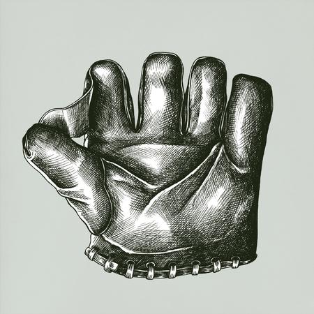Baseball glove vintage style illustration
