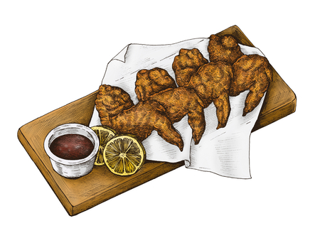 Hand-drawn chicken wings isolated on a white background.