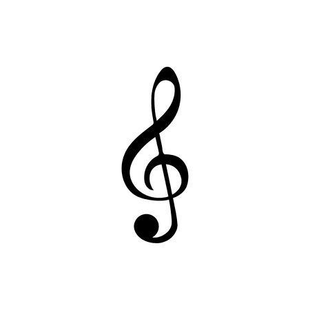 Illustration of a treble clef musical note isolated on a white background. Banco de Imagens