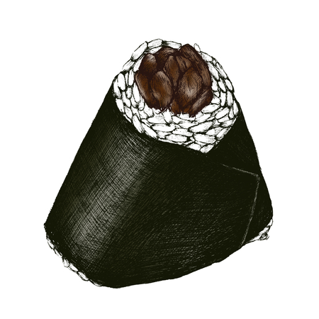 Hand drawn onigiri Japanese food isolated on a white background.