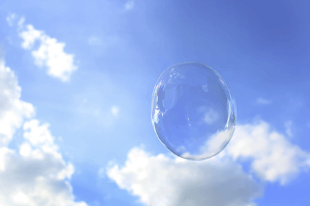 Cloudy blue sky with a bubble Stock Photo