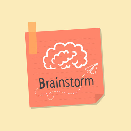 Ideas and brainstorming note illustration Stock Photo