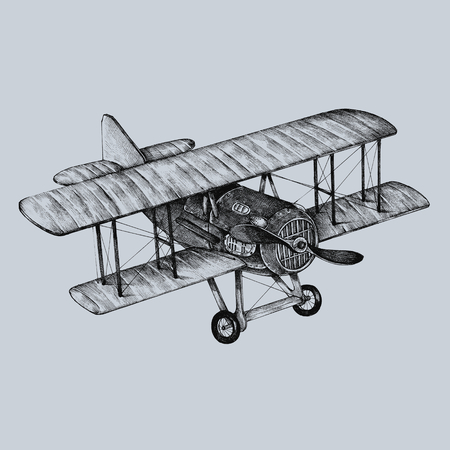 Hand drawn ATR plane isolated on a gray background