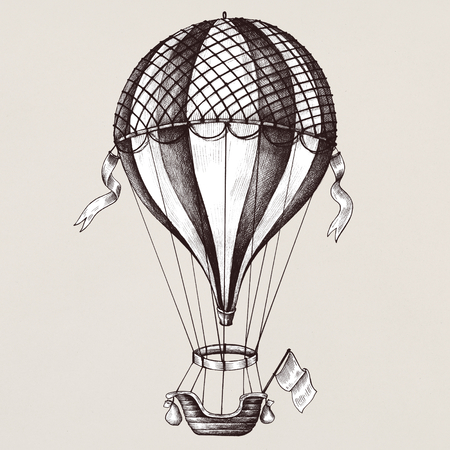 Hot air balloon vintage style illustration