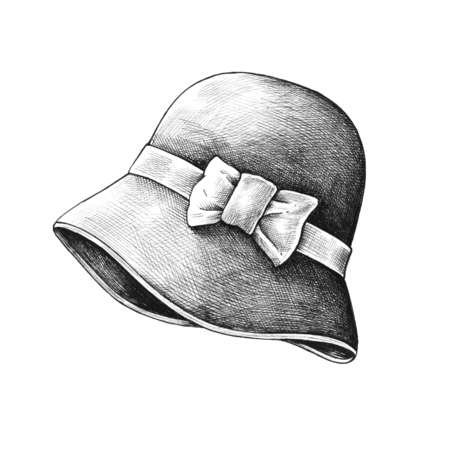 Hand drawn sun hat isolated on a white background