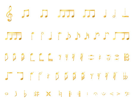 Collection of a musical notes isolated on a white background