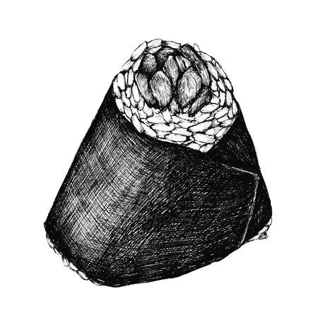 Hand drawn onigiri Japanese food isolated on a white background