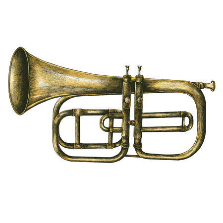 Brass trumpet vintage style illustration isolated on a white background