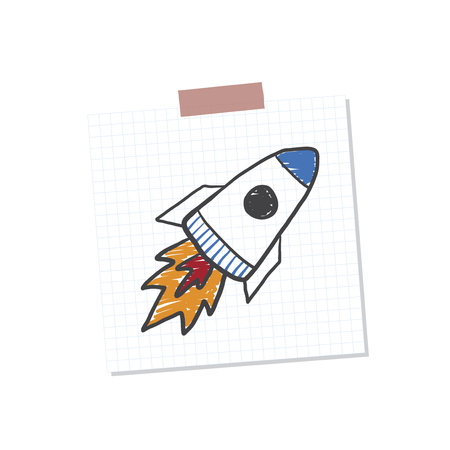 Rocketship start up note illustration isolated on a white background
