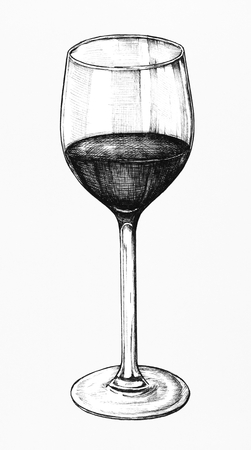 Hand drawn red wine glass isolated on a white background