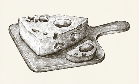 Hand-drawn cheese dairy product
