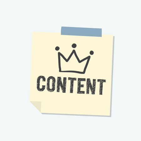 Content is king note illustration Stock Photo