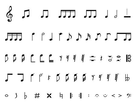 Sammlung einer Musiknoten lokalisiert auf einem weißen Hintergrund.