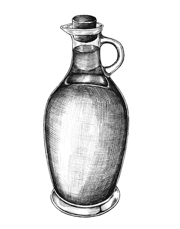 Hand drawn pitcher of olive oil isolated on a white background.