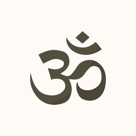 Illustration of the Indian Om symbol isolated on a white background.