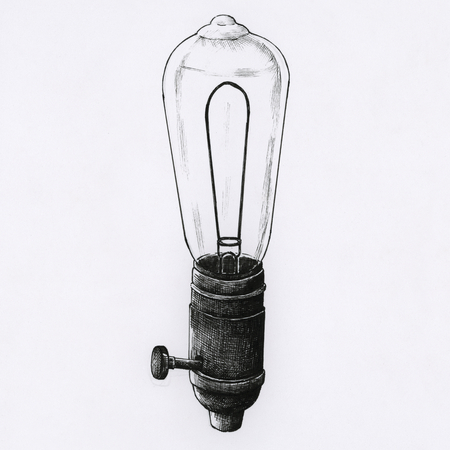 Hand drawn lighbulb isolated on a light background
