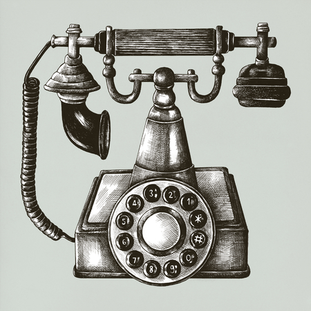 Old phone vintage style illustration
