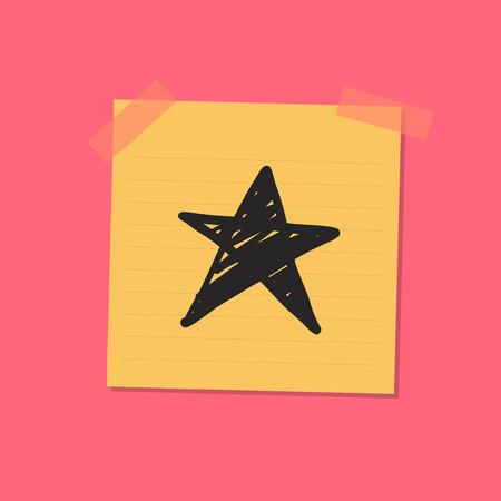 Star sketch sticky note illustration Zdjęcie Seryjne
