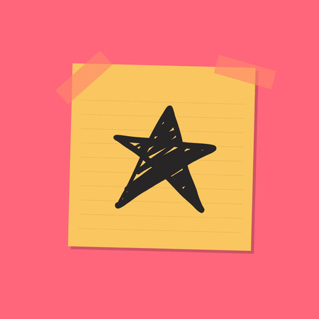 Star sketch sticky note illustration Stock Photo
